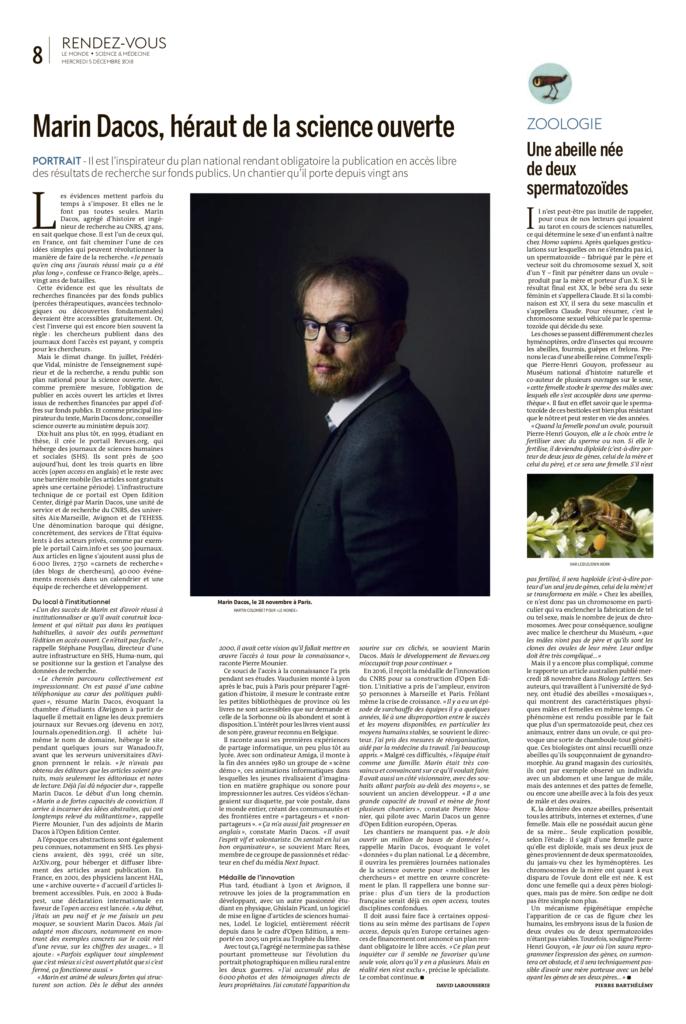 Portrait paru dans Le Monde le 4 décembre 2018
