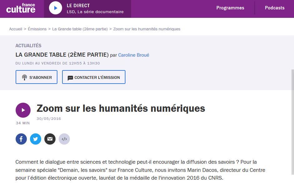 """Zoom sur les humanités numériques"""" (La grande table, France ..."""